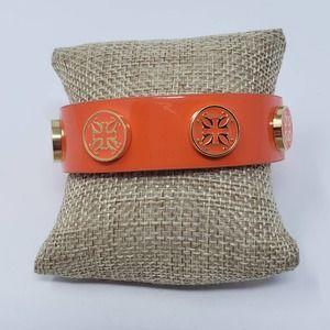 Rustic Cuff Meagan Wide Leather Bracelet Orange
